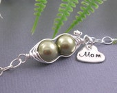 pea pod bracelet, 2 peas in a pod, mommy bracelet, gifts for mom, sterling silver, triplets, sister gift, personalized gift, baby shower