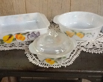 Vintage FIre King Baking Dishes with Hand Painted Fruit Designs