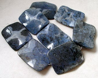 Denim Blue Dumortierite Bead- Large Rectangle Dumortierite Gemstone Focal Beads For Beaded Jewelry Making