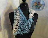 Knitted Scarflette Neck Warmer Scarf Blue Water