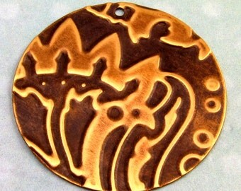 Embossed Brass Round Pendant E62