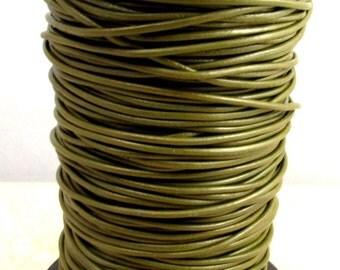 Greek Leather Cord, Olive Green, 2 MM 12-feet  M182