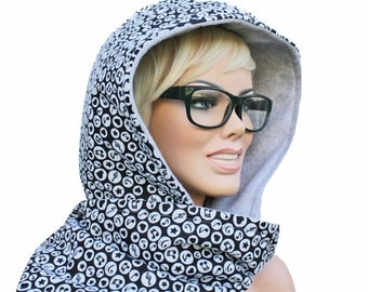 Scoodie Hooded Scarf - Black and grey Music Notes - Flannel and Fleece