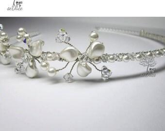Bridal Swarovski Crystal Triple Petals Tiara Headband