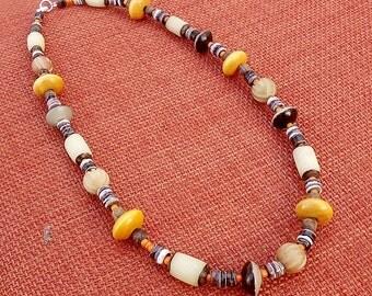 SALE, Wood & Buri Necklace