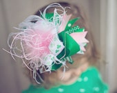 Shamrock St Patty's Bow  Green Pink Ribbon Over The Top Ostrich Feather OTT Hair Bow