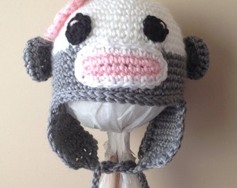 Crochet Sock Monkey Hat Cap Newborn to 3 months in White and Pink