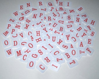 Red and White Plastic Alphabet Letter Tiles From Hangman Set of 112
