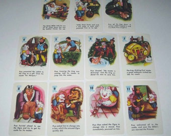 Vintage 1960s Puss 'n Boots Children's Fairy Tale Story Playing Cards Set of 11