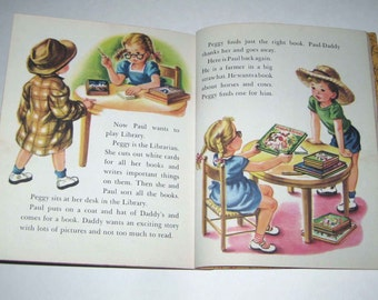 Rainy Day Play Book Vintage 1950s Children's Little Golden Book Illustrated by Corinne Malvern