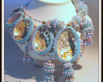 RECENTLY UPDATED - Beaded Statement Necklace peyote stitch Tutorial - Mermaid's Abalone Beaded Collar  instructions pattern by Hannah Rosner
