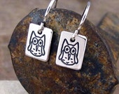 Silver Owl Earrings - Tiny Owl Jewelry - Sterling Owl Charm Earrings by HANNI