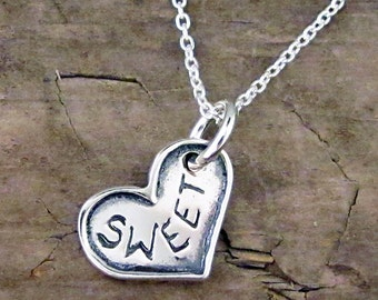 Sweetheart Necklace - Love Jewelry - Sweet Heart Charm Valentine Gift