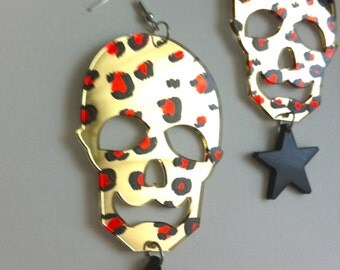 SKULL black STAR leopard acrylic gold mirror painted RED spots light weight earring gothic goth fabulous bad girl evil  diva