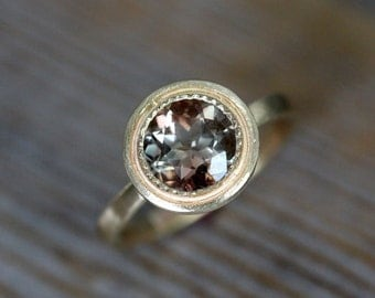 14k Yellow Gold and Oregon Sunstone Halo Ring, Vintage Inspired Milgrain Detail