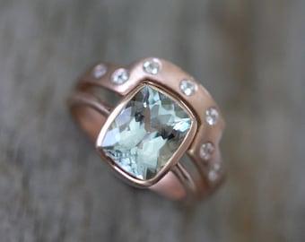 Aquamarine Rose Gold Engagement Ring Wedding Set, 14k Rose Gold Cushion Cut Aquamarine and White Sapphire Wedding Band, Eco Friendly