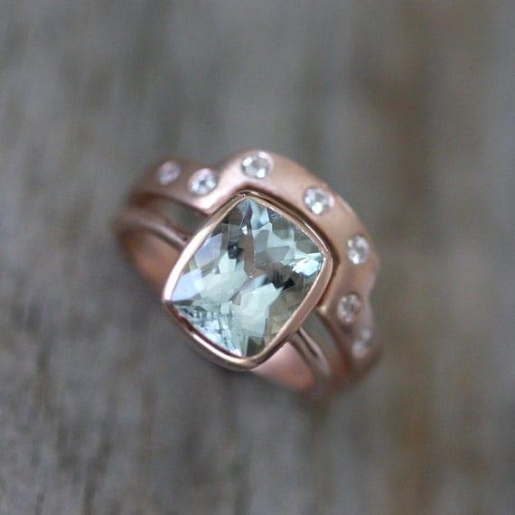 Aquamarine Rose Gold Engagement Ring Wedding Set 14k Rose