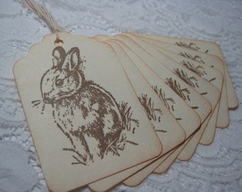 Handmade Easter Gift Tags - Vintage Style Easter Bunny