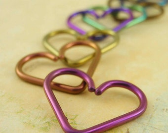 1 Heart - Niobium Heart Piercing - Hypo Allergenic - You Pick Color and Gauge - Cartilage piercing