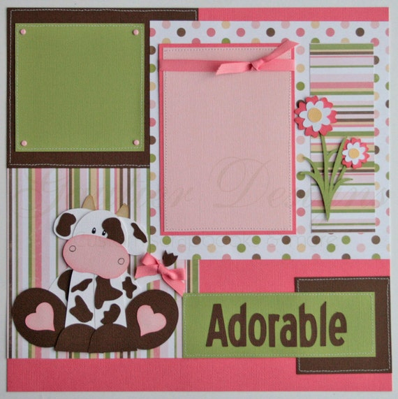 Scrapbook pages udderly adorable baby girl cows 12x12 - Scrapbooking idees pages ...