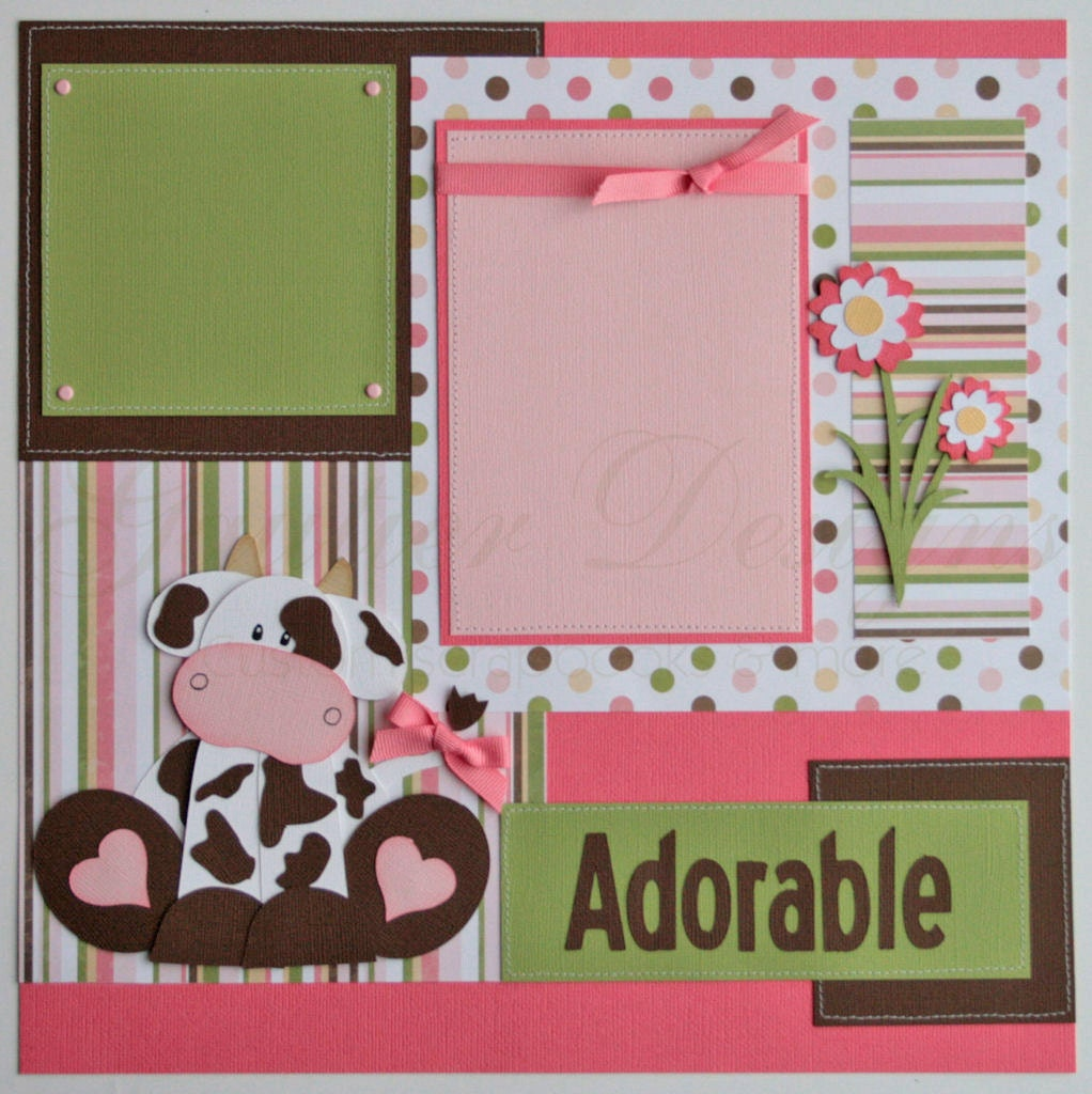 Scrapbook Pages Udderly Adorable Baby Girl Cows 12x12