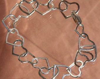 Linked Hearts Sterling Silver Bracelet