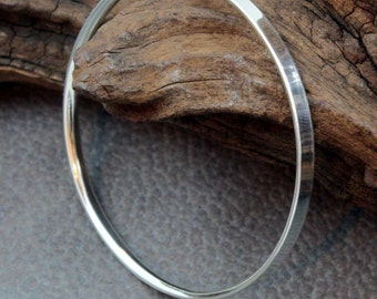 Reverse D Section Sterling Silver Bangle