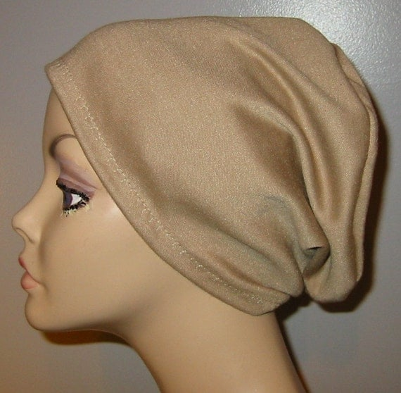 2-Way Camel  Knit Chemo Cap, Cancer Hat, Alopecia, Modest Hat,