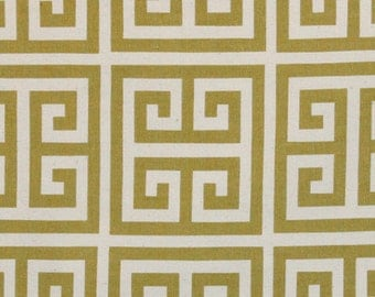Destash Fabric. Premier Prints GREEK KEY Village Green 1.5 yards. Towers print Home Decor Cotton Fabric. Sewing Material. Ready to Ship