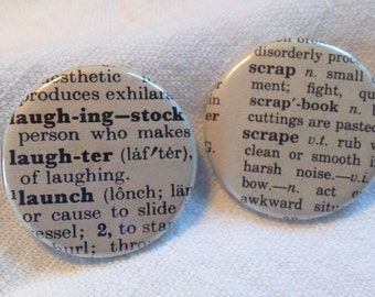 Vintage Dictionary 2 Custom Buttons