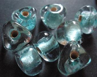 Vintage Glass Beads (12) Mint Green Core Handmade Beads