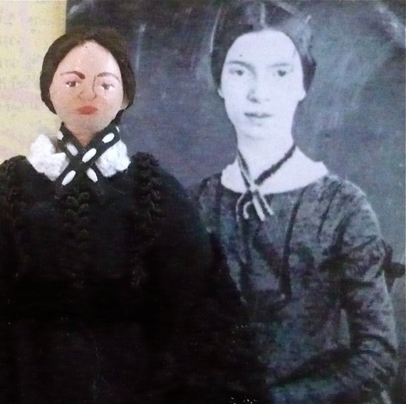 Emily Dickinson Doll Miniature in Black Dress Poet Art Collectible