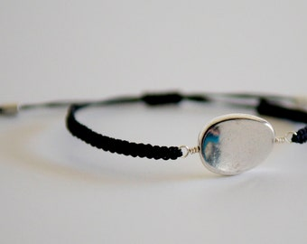 CUSTOM Oval Wave Bracelet - silver and poly cord with macrame adjustable sliding knot