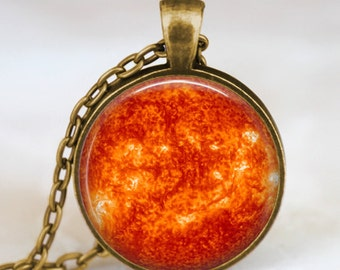 Sun pendant , sun space necklace, space universe sun charm, gift for him her with gift bag