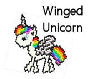 Rainbow Pegacorn Pegasus Unicorn Beaded Ornament Digital PDF Pattern Brick or Peyote Stitch