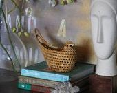 Vintage - Wicker Storage Woodland Bird Basket