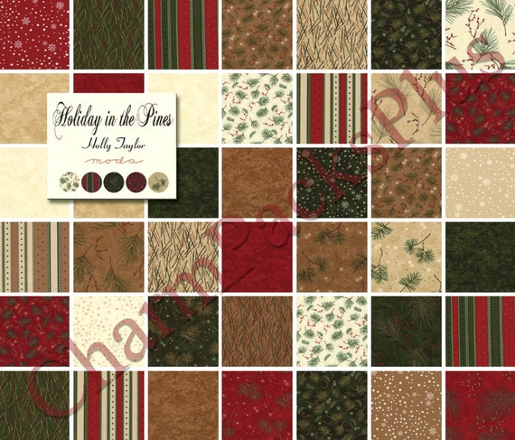 Holiday In The Pines Moda Fabric Charm Pack Five Inch