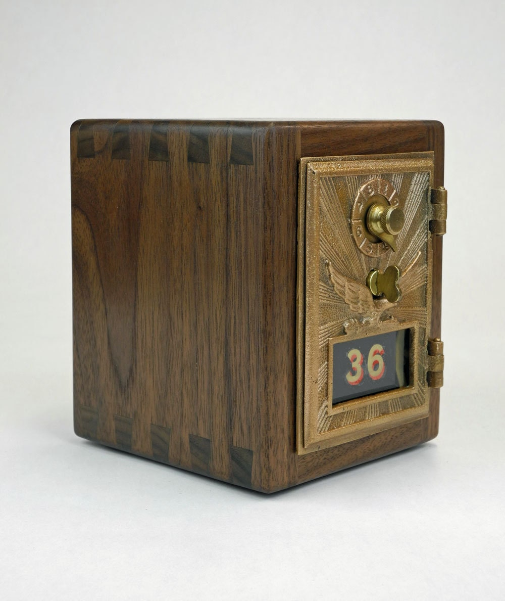 Walnut Post Office Box Coin Bank 1920