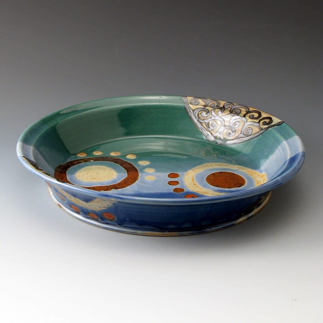 Ceramic Stoneware Baking : Pottery stoneware pie plate blue green ceramic baking dish