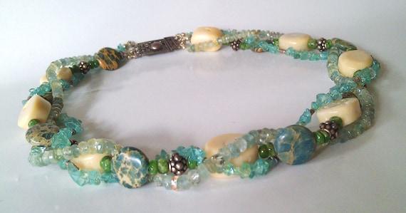 Coral Gemstone Sea Garden  Necklace