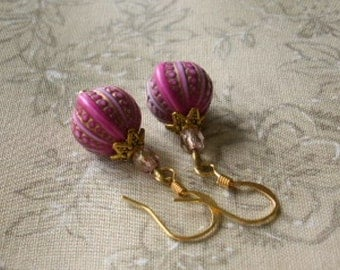 Pink Antiqued Gold ARABIAN NIGHT Earrings Boho Morrocan Style