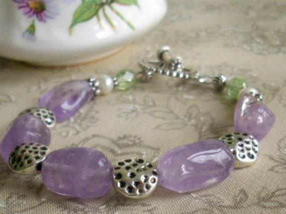 February Birthstone, Amethyst Nugget Canterbury Pearl Bracelet, Purple Stone Bracelet