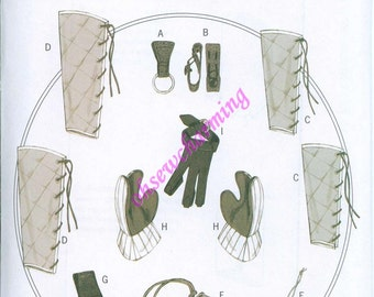 Renaissance Costume Accessories Patterns Butterick 5733 All Sizes Mug and Ax loops bracers greaves gloves and pouches