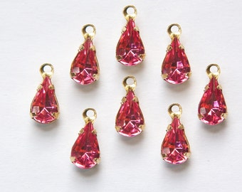 Rose Pink Glass Teardrop Stones in 1 Loop Brass Setting 8mm x 4mm (8) par001M