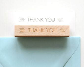Thank You Stamp, Original Modern Minimalist Arrow Design (Wood Mounted) with optional wooden handle (S104) For DIY Holiday Thank You Cards