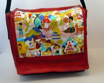 Red Leather Messenger Bag - Japanese Anime