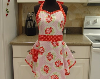 Shabby Chic SweetHeart Apron - Retro Apron - LuLu Rose in Pink with Red Dots