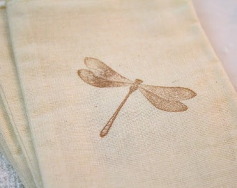 Dragonfly Bags / Drawstring Gift Bags SET OF 10