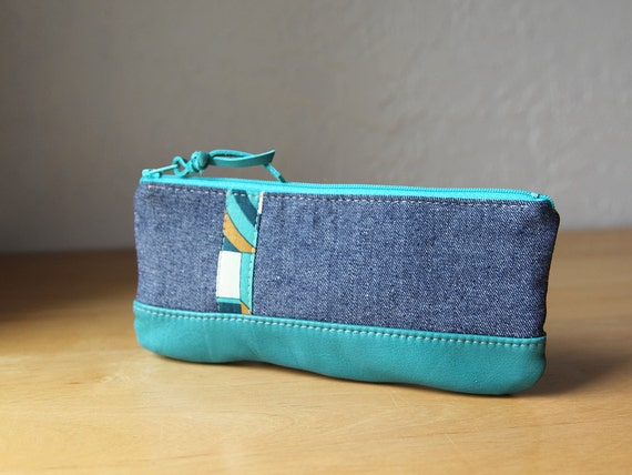 Leather and Denim Pencil Pouch  // Zipper Case // Turquoise