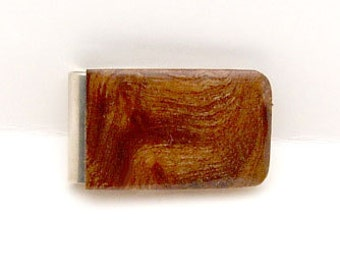 Handmade Money Clip Carpathian Elm Burl Wood